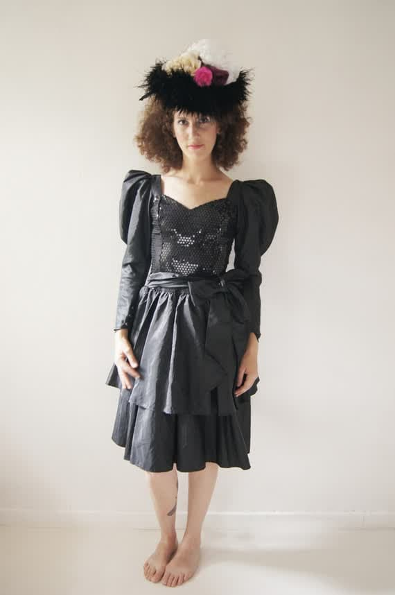GOTTEX black Sequins dress,Vintage Sequins dress,8