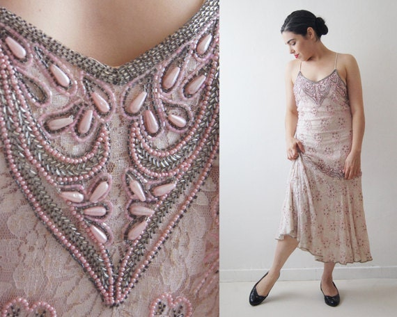 Vintage beaded dress,cocktail dress,pink Charlesto