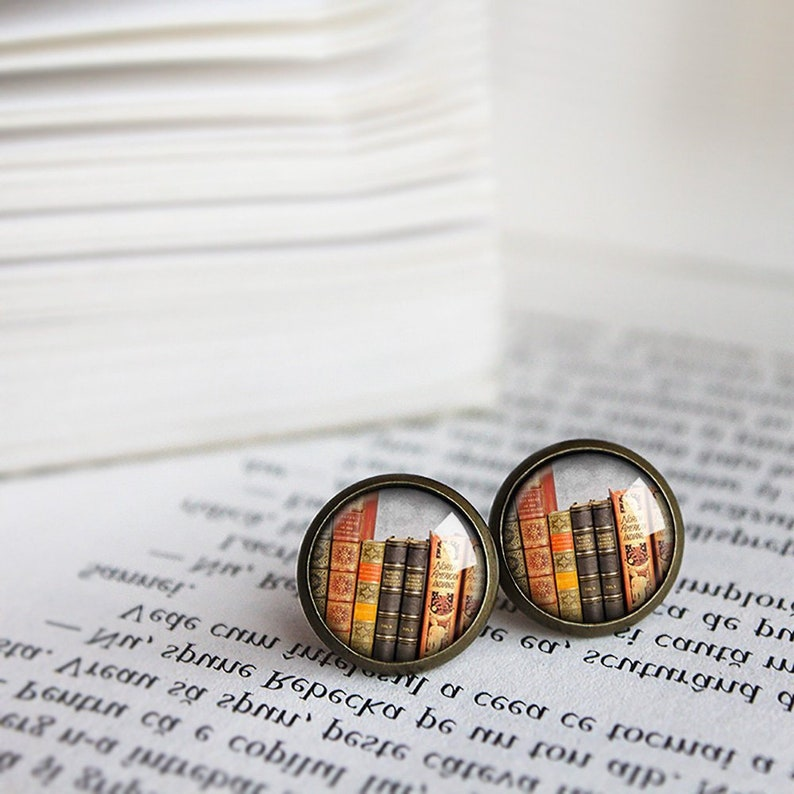 Book Stack Earrings Library Stud Earrings Book Geek Book image 0