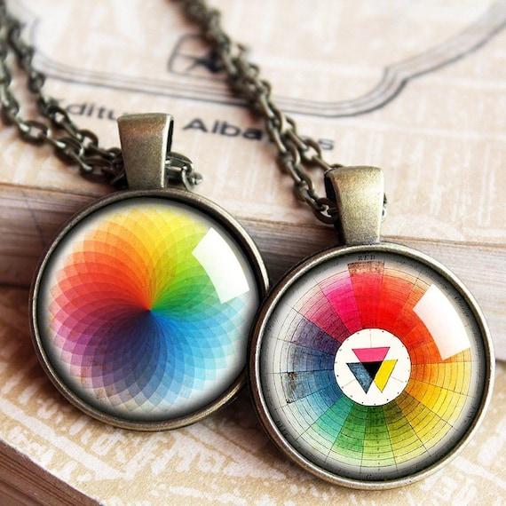 Vintage Color Wheel Necklace Artists Pendant Color Wheel Etsy
