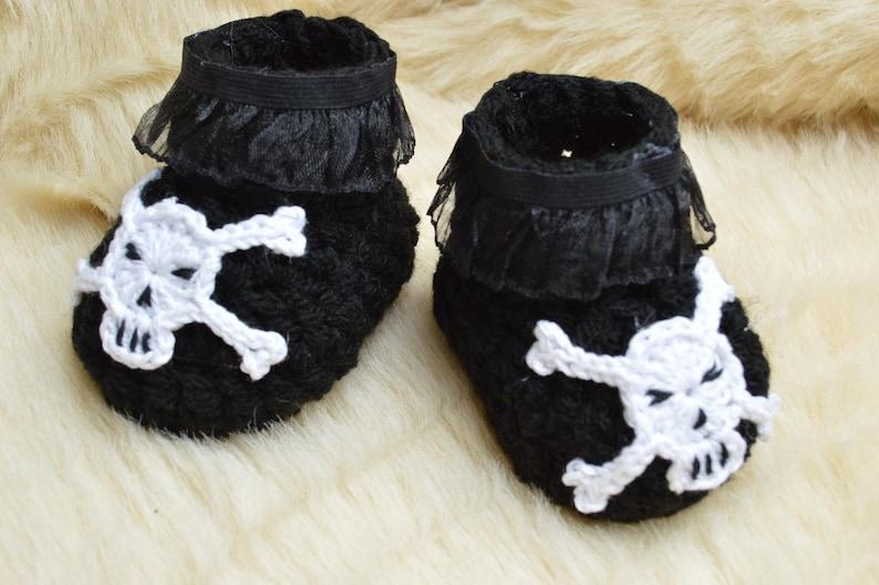 5d4987f12ca Newborn girl gift skull black Shoes slippers skull shower gift