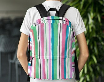 Backpack, Back to School, Striped Backpack, Student Backpack