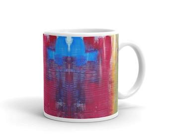 Glossy mug, Coffee Mug, Painterly Coffee Mug, Multi-Coloured Coffee Mug