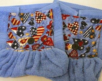 Hanging Hand Towel, American Theme Hanging Towel,  Blue Guest Towel, Hostess Gift, Blue Kitchen Hanging Towel, Home Decor