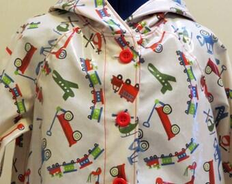 Boys Raincoat, Laminated Cotton Fabric, Transport Theme, Size 5-6