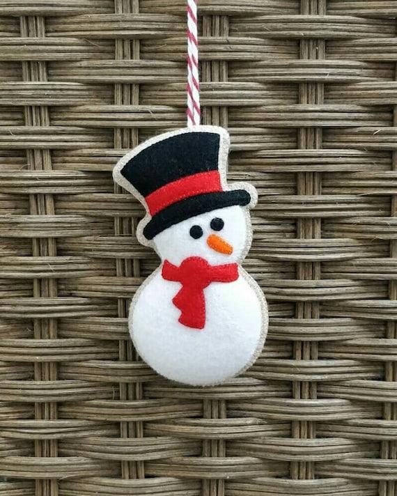 Christmas Snowmen Decorations.Felt Christmas Snowman Ornament Felt Decoration Christmas Decor Tree Ornament