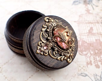 Fairytale Trinket Box - Stained Wood Ring Box - Fairytale Wedding Antique Style Victorian Cabochon Small Wooden Box - Pink and Bronze