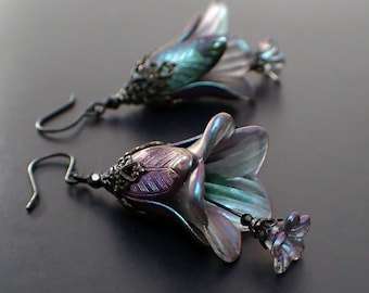 Night Elf Earrings - Dark Black Brass and Lucite Flower Drops with Color Shifting Purple and Green Shimmer Patina and Crystal Beads