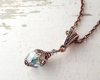 352f006ff Seafoam Green Pendant Necklace - Czech Glass Copper Chain Necklace Custom  Size Adjustable Length - Short Long - Boho Vintage Style Jewelry