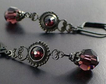 0343af175 Black Brass and Burgundy Swarovski Crystal Earrings - Victorian Gothic  Medieval Style Jewelry