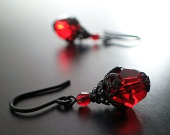b85db069d Gothic Victorian Blood Red Swarovski Crystal Earrings with Black Brass  Filigree - Romantic Victorian Style Jewelry