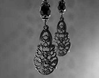 Victorian Gothic Black Metal Filigree Lever Back Earrings - Hand Oxidized Brass with Swarovski Crystals