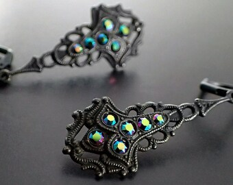 ef98a33be Black Antique Style Drop Earrings with Peacock Swarovski Crystals -  Victorian Gothic Style Jewelry