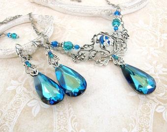 c4cc29e02 Bermuda Blue Jewelry Set - Swarovski Crystal Victorian Jewelry - Peacock  Blue Wedding Necklace Earrings - Renaissance Style Wedding Jewelry
