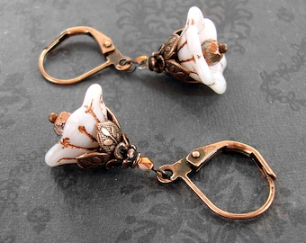 White and Copper Czech Glass Flower Bead Earrings - Copper Jewelry - Floral Lever Back Earrings - Leverback Earrings - White Flower Earrings