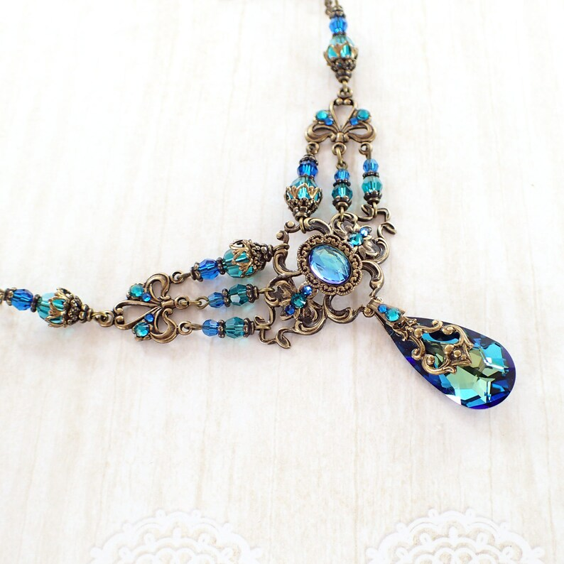 c47f37024 Bermuda Blue Victorian Style Multi Strand Necklace Swarovski   Etsy