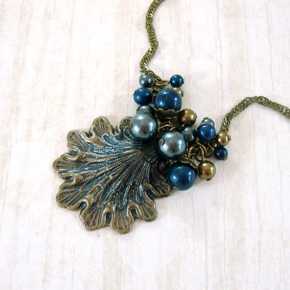 Make Your Own Seashell Jewelry: Seashell Necklace Swarovski Pearl Cluster Victorian Mermaid