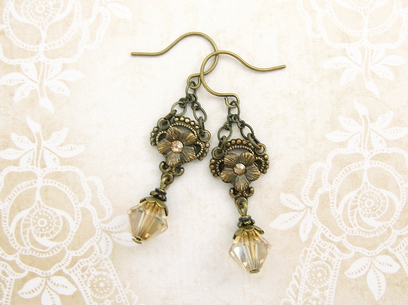 362d6a035 Vintage Style Swarovski Earrings Antique Brass and Gold   Etsy