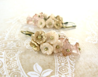 Neo Victorian Flower Cluster Earrings - Pink Gold and Ivory Czech Flower Earrings - Brass Vintage Style Flower Jewelry Cottage Chic Wedding