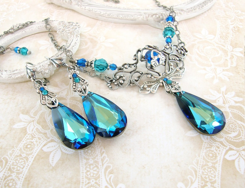 Bermuda Blue Jewelry Set  Swarovski Crystal Victorian Jewelry image 0