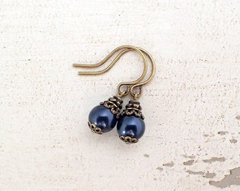 Petite Midnight Blue Swarovski Pearl Earrings with Antiqued Brass Bronze Filigree - Hooks Lever Backs or Clip On Earrings