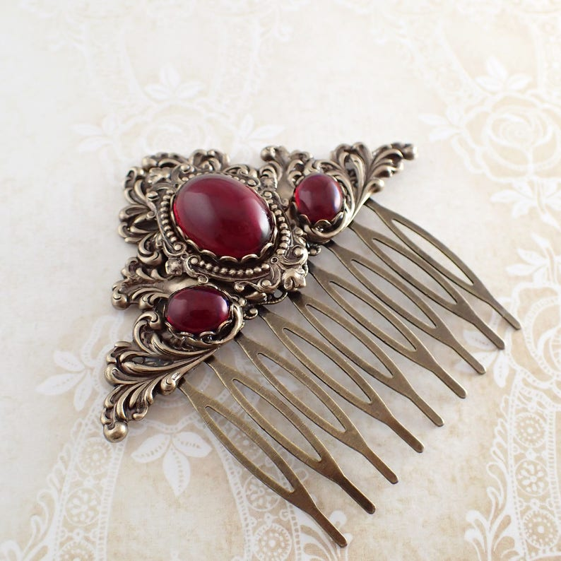 Victorian Wigs, Hair Pieces  | Victorian Hair Jewelry Antique Style Hair Comb - Antiqued Brass Bronze and Red Victorian Style Hair Comb Slide - Goth Renaissance Wedding Accessories $38.00 AT vintagedancer.com