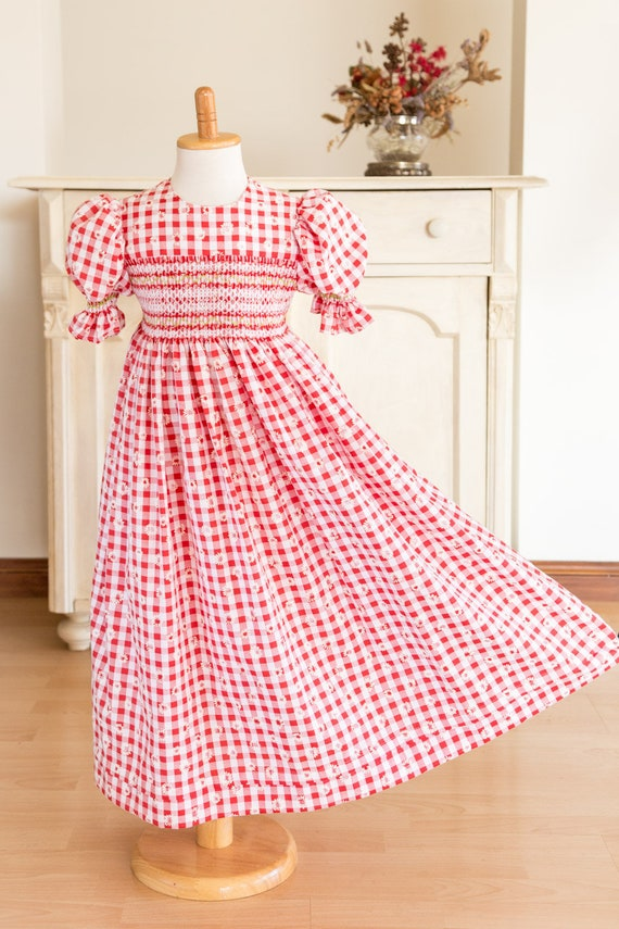 2d9eb7258d74 259 Hand-smocked red and white embossed Gingham dress age 5