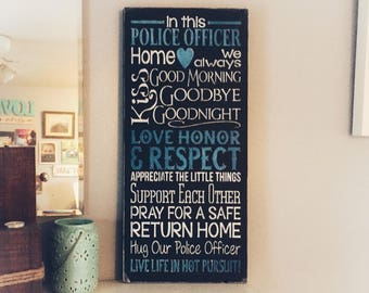 I'm this police officer home,  wood Sign, Police Officer, LEO Sign, Thin Blue Line, Custom Wood Sign, police gift,