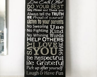 Family Rules Sign, Rules of the Family, Our Family Rules, Wood Sign, Sign Family Rules, Home Decor Sign, unique home decor