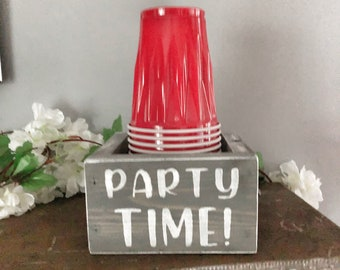 Wood Solo Cup Holder  - Mark Your Cup & Drink Up - Party Cup Holder - drink up bitches - personalized