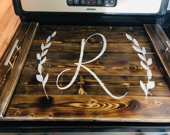 Handmade wooden stained stovetop cover, serving tray, noodle board-Blank/Personalized-electric, glass and gas stoves,sink.