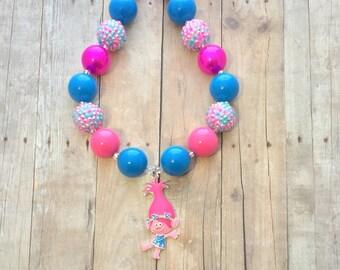 Poppy Necklace- Trolls Bow- Poppy Headband- Trolls Poppy- Trolls Party-Trolls Inspired Chunky Necklace-Poppy Necklace-Trolls Birthday-Poppy