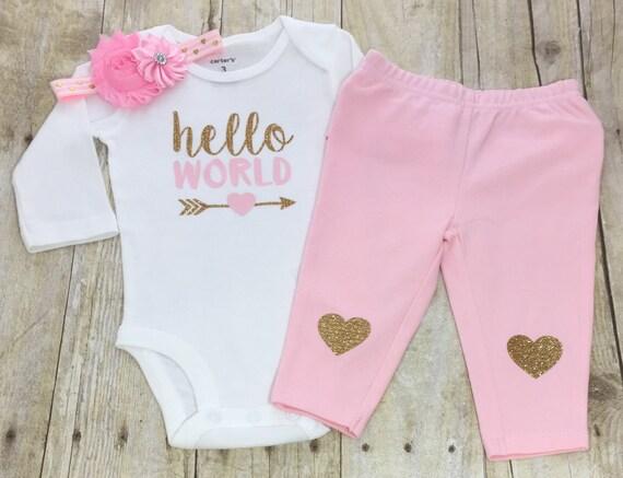 fe64073d7 Hello World Bodysuit Pink Gold Hello World Bodysuit-Girls
