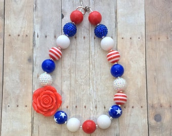 Fourth of July Inspired Chunky Necklace-American Flag Chunky Necklace-Star 4th of July Bubblegum Necklace-4th of July-Red White Blue