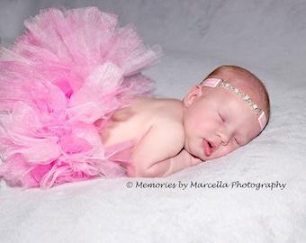 Pink Pearl Headband-Pink Rhinestone Connector Headband-Baby Headband- Pearl Rhinestone Connector Headband- Pink Headband-Newborn Photo Prop