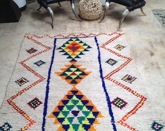 Reserved for Pferguson - Vintage Moroccan rug - Boucherouite wool- Fluo