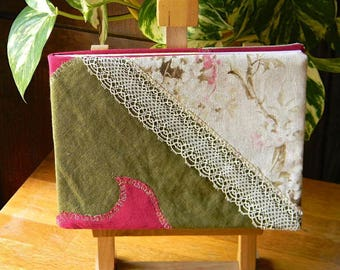 187 notebook, travel, guest book, linen, cotton and lace