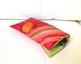 103 - Orange/red, quilted glasses case
