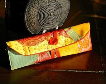 109 case for two/three pens, mini clutch, yellow orange Green