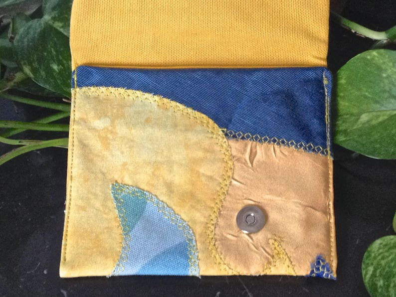 fabric wallet yellow and turquoise blue 268 small pouch bird couple pattern