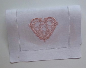 4 Made to Order Heart 6x9 Hemstitch Cocktail Napkins