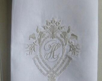 Made to Order Crown Frame Design  Line Hemstitched Dinner Napkins