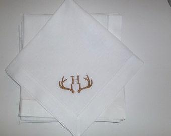 4 Made to Order Antler Dinner Napkins 100% Linen