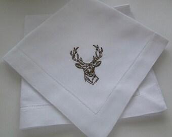 4 Made to Order Hemstitched Deer Head Dinner Napkins