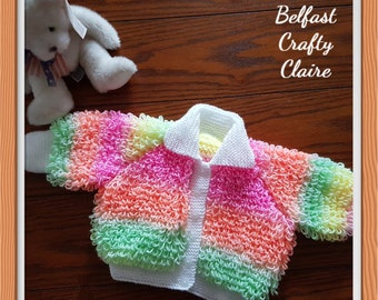 Merino or Vegan Friendly Acrylic Choice of Sizes Colours /& Materials Super Cute Hand Knitted Baby Set