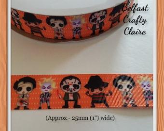"""Halloween Pumpkin Mini Bats Grosgrain Ribbon 3/"""" 1.5/"""" 1/"""" 75mm 38mm 25mm Widths"""