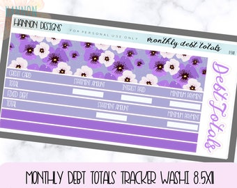 Debt Tracker washi kit fits any 8.5x11 Planner, Erin Condrin,  Plum Paper Planner, printable sticker kit