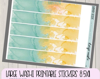 Large washi Planner functional stickers, watercolor, planner printable stickers for 8.5x11 size planners