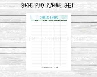 Sinking Fund Printable, Planner budgeting printable, zero based budget