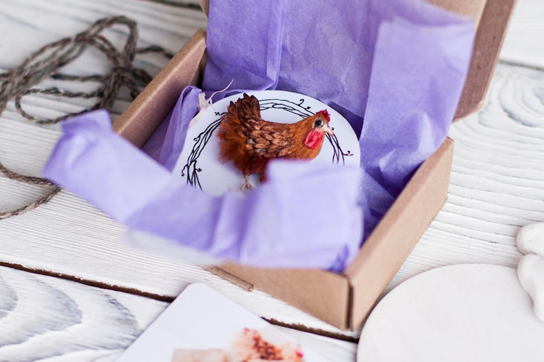 Realistic stumpwork art. Chicken miniature Easter ginger red embroidered hen brooch
